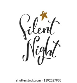 Silent night. Christmas and New Year calligraphy phrase made in vector. Handwritten Christmas lettering for posters, postcards, etc.