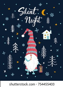 silent night handwritten hand drawn  xmas  merry christmas greeting card with cute gnome holding lantern in the night in woodland forest
