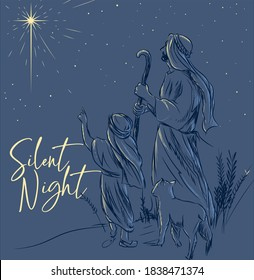 Silent Night Holy night Christmas vector card illustration