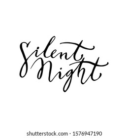 Silent night lettering template. Greeting card invitation with xmas phrases. Vintage illustration.