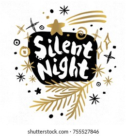 Silent Night Merry Christmas Happy New tags set sketch style. Christmas lettering greeting cards. Golden festive doodles trendy firecracker fireworks. Hand drawn vector illustration.