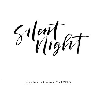 Silent night phrase. Greeting card. Merry Christmas lettering. Ink illustration. Modern brush calligraphy. Isolated on white background.