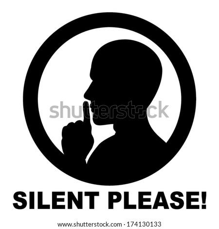 silent please be quiet sign vector のベクター画像素材 ロイヤリティ