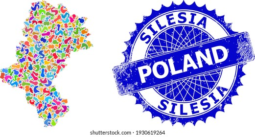 Silesian Voivodeship map flat illustration. Splash mosaic and corroded seal for Silesian Voivodeship map. Sharp rosette blue seal with tag for Silesian Voivodeship map.
