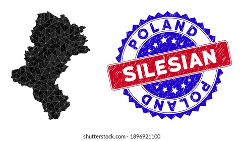Silesian Voivodeship map polygonal mesh with filled triangles, and unclean bicolor stamp seal. Triangle mosaic Silesian Voivodeship map with mesh vector model, triangles have randomized sizes,