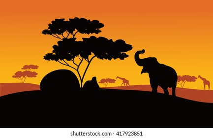 Silhhouette of elephant in park with tree and giraffe