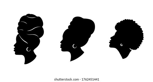 Silhoettes of african american women in a head wrap and with an earring.  Beautiful black girls profile. Vector fashion illustration isolated on white.