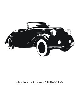 Silhouette of a 1920s car with an open top