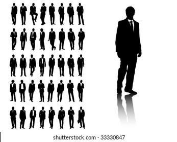 Silhouette of 40 Businessmen
