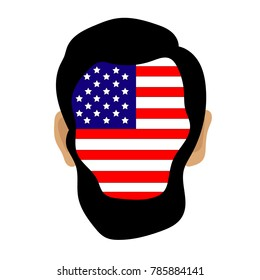 Silhouette Abraham Lincoln, with the flag of the USA. Vector illustration
