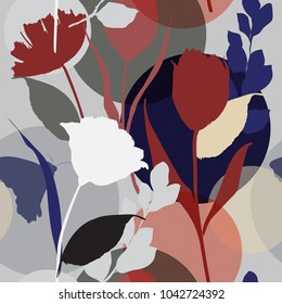 Silhouette Abstract  botanical flower composition of garden leaves.colorful  seamless pattern wallpaper  on modern background