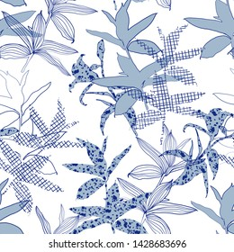 Silhouette Abstract botanical flower composition of garden leaves.monotone blue color seamless pattern wallpaper on modern fill in line pattern background