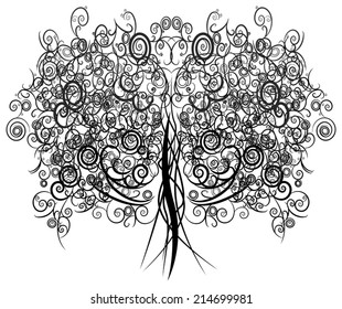 Silhouette abstract curly tree made with many curves and elements , create by vector.