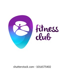 Silhouette abstract man on navigation geo mark. Template logo for fitness club. Concept healthy life near me. Vector illustration.