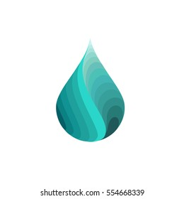 silhouette of abstract  wavy water drops,logo, sign, vector