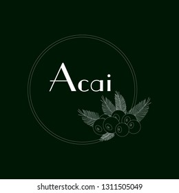 silhouette acai berry with palm leaves and text Acai in frame