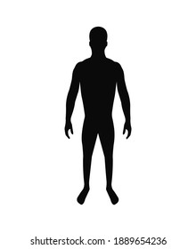 Silhouette of an adult male athletic build. Man icon on a white background.
