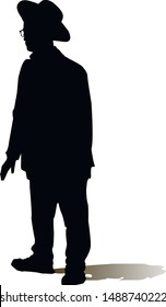 Silhouette of an adult male Jew. Religious Jew. The man in the hat. Young Jew Hasid in a hat. Isolated vector illustration. Black on white.