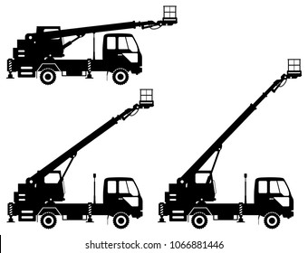 Silhouette of aerial platform truck with different boom position. Heavy construction machine. Building machinery. Special equipment. Vector illustration.