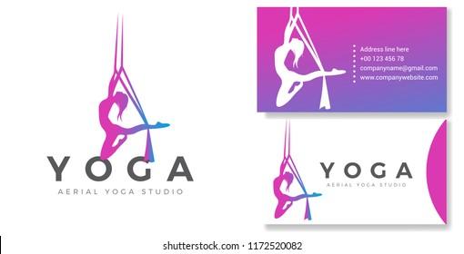 Silhouette Aerial Yoga Logo & Business card Vector Design