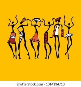Silhouette of African dancers. Dancing woman in traditional ethnic style. Vector Illustration.