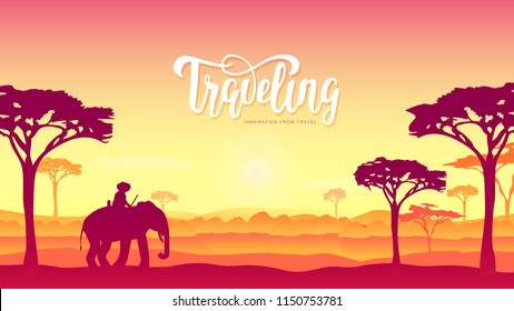 Silhouette African Elephants with man walking on nature at sunset design. Wild animal against the background of nature africa concept. wildlife reserve