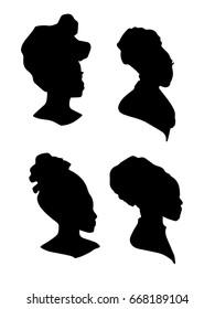 Silhouette of african woman in scarf set. Hand drawn sketch. Vector illustration
