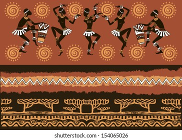 the silhouette of the Africans. Dancing Africans and aborigines