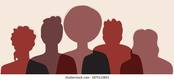 Silhouette of afro people isolated. Our flat stock illusion. African man, woman. Afro community concept, black history month, African American people. Illustration with faces, heads of people