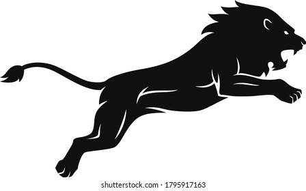 Silhouette of Aggressive Lion Jumping Attack The Prey