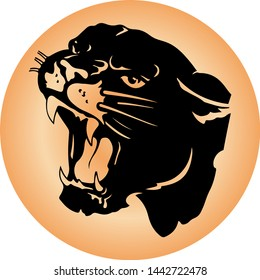 Silhouette of aggressive panther head, with open maw and fangs, in a round brown icon, vector