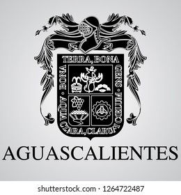Silhouette of Aguascalientes Coat of Arms. Mexican State. Vector illustration