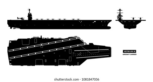 Silhouette of aircraft carrier. Military ship. Top, front and side view. Battleship model. Industrial drawing. Warship in flat style. Vector illustration