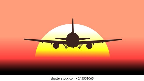silhouette of an airplane taking off in background the sun