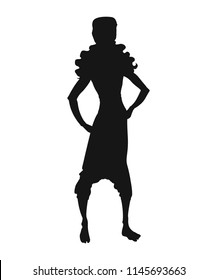 Silhouette of aladdin. Silhouette of a slender guy in a turban. Arabian prince of thieves