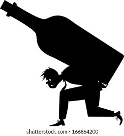 Silhouette of an alcoholic carrying a giant bottle,vector illustration