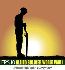 Silhouette of allied soldier of World War 1.  British, American, Australian... 1914 - 1918. Original digital illustration.