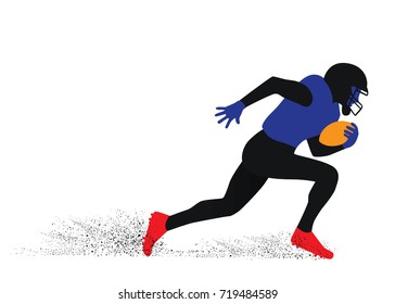 Silhouette of American football player try to running fast with the ball for touchdown.