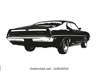 Silhouette of american muscle car, early 1970s, back view, vector illustration.