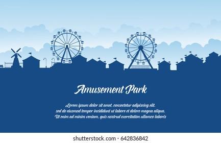 Silhouette amusement park scenery vector flat