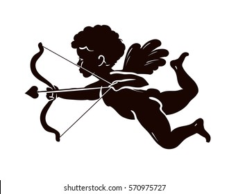 Silhouette angel, cupid or cherub with bow and arrow. Vector illustration