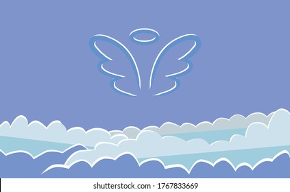 silhouette of an angel in heaven, wings and halo, blue sky with clouds, vector illustration