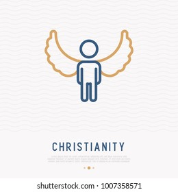 Silhouette of angel with wings thin line icon. Modern vector illustration.