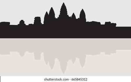 Silhouette Angkor Wat Cambodia vector