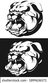 Silhouette Angry Bulldog Head Barking Biting