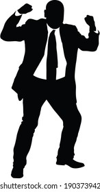 A silhouette of an angry businessman making fists.