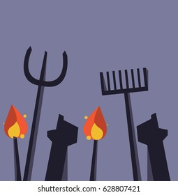 Silhouette of angry mob holding pitchforks and torches