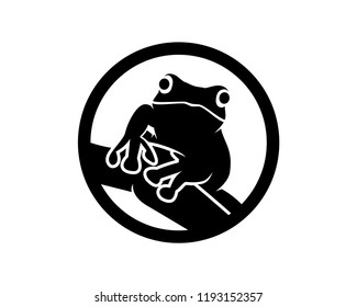 Silhouette Animal Frog Sign Symbol Icon Circle Logo Vector