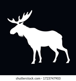 Silhouette of an animal moose, white on a black background, vector illustration