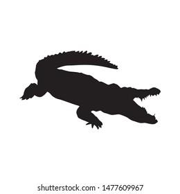 silhouette animals vector concept.  crocodile silhouette design graphics.